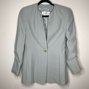 MaxMara gray button made in Italy blazer jacket